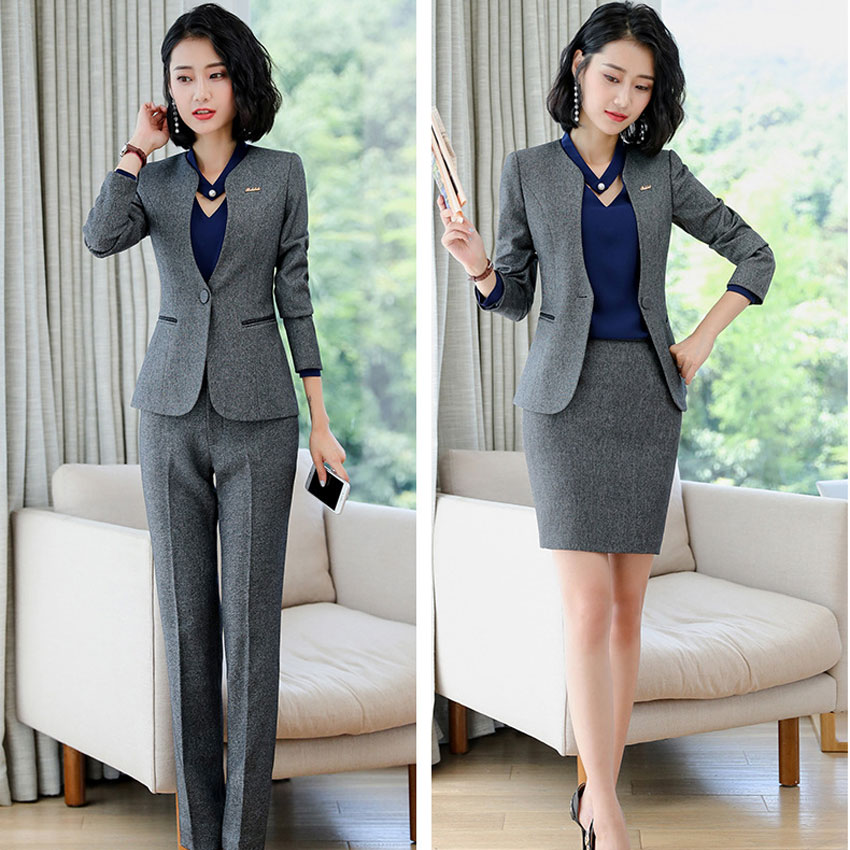 IZICFLY New Style Autumn Gray Trouser And Jacket Suit Women Work Wear Office Elegant Business Two Piece Ladies Office Pant Suits