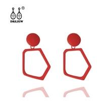 DREJEW Red Purple Green Pink Geometric Irregular Statement Dangle Earrings Korean Alloy Drop for Women Wedding HE863