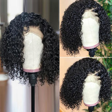 Jesscia Hair Deep Wave Wig Short Bob Lace Front Wigs Brazilian Remy Hair 13x4 Curly Human Hair Wigs Pre Plucked With Baby Hair(China)
