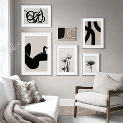Tulip Flower Black Strokes Body Wall Art Canvas Painting Abstract Nordic Posters And Prints Wall Pictures For Living Room Decor