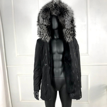 Real Fox Fur Collar Rabbit Fur Lined Hooded Parka Winter Mens Outwear High Quali