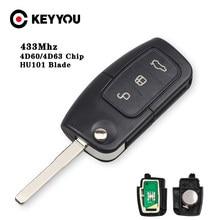 KEYYOU Uncut HU101 Blade 4D63/4D60 чип для автомобиля с откидной клавишей Автомобильный Дистанционный Ключ DIY 433 МГц для Ford Fusion Focus Mondeo Fiesta Galaxy