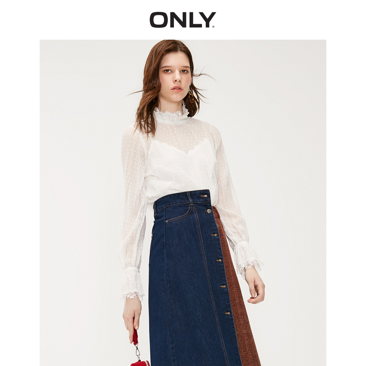 ONLY Autumn Winter Women's Loose Fit White Dot Laced Chiffon Shirt | 119207583