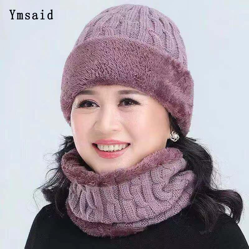Hot Selling 2pcs Ski Cap Scarf Cold Warm Winter Hat For Women Men Knitted Hat Bonnet Warm Cap Mom Dad Hat Skullies Beanies