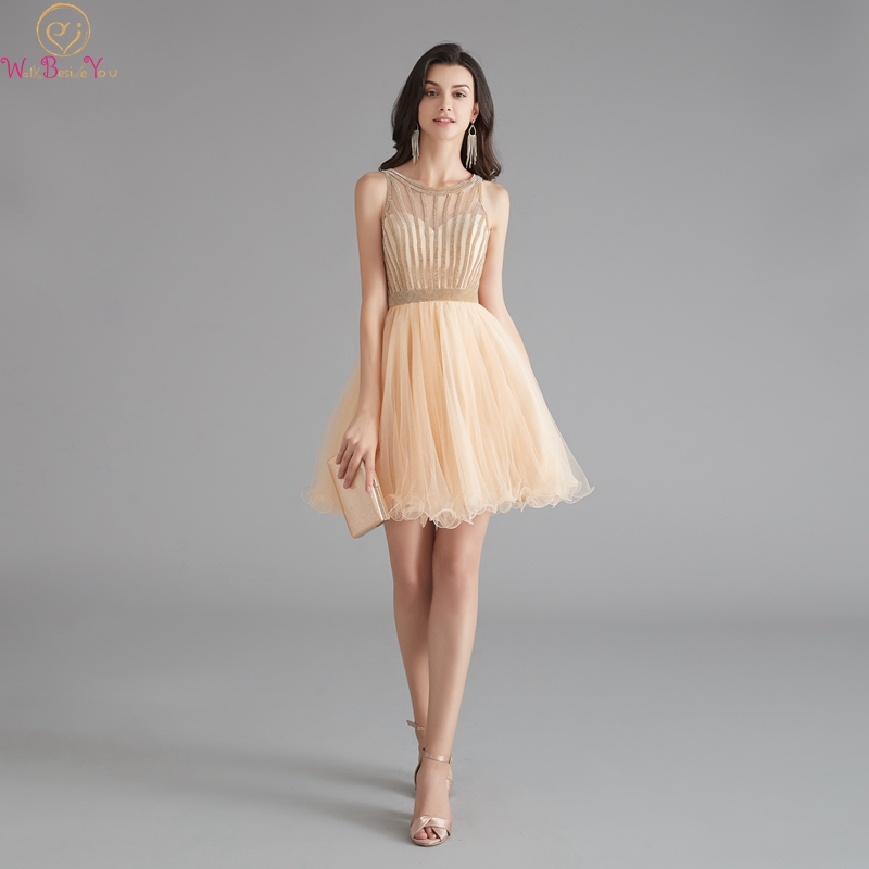 Champagne Prom Dresses 2019 Walk Beside You Above Knee A-line O Neck Sleeveless Crystal Sweet Girls Party Special Occasion Gowns