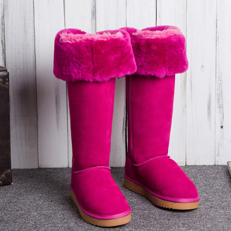 G&Zaco Genuine SuedeLeather Snow Boots Sheepskin Boots Knee-high Snow Boots Bow  Women Warm Shoes Wool Sheep Fur Long Boots
