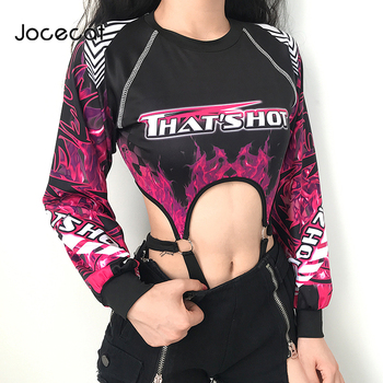цена на Flaming Fire Print Bodysuit Women Cut Out Sexy Rave Bodies Autumn Winter Long Sleeve Moto & Biker Gothic Bodysuits