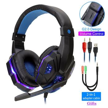 Professional Led Light Bass Gamer Wired Headset With Microphone For Switch PS4 Computer Gaming Over Ear Headphones For XBox PC oneodio wired professional studio pro dj headphones with microphone over ear hifi monitors music headset earphone for phone pc
