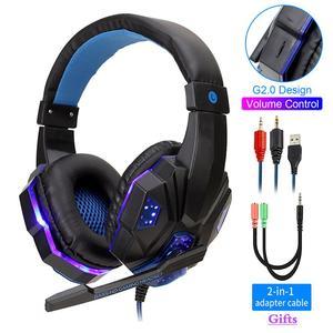 Image 1 - Profesyonel Led ışık bas oyun için mikrofon ile kablolu kulaklık anahtarı PS4 bilgisayar üzerinde oyun kulaklıklar için XBox PC