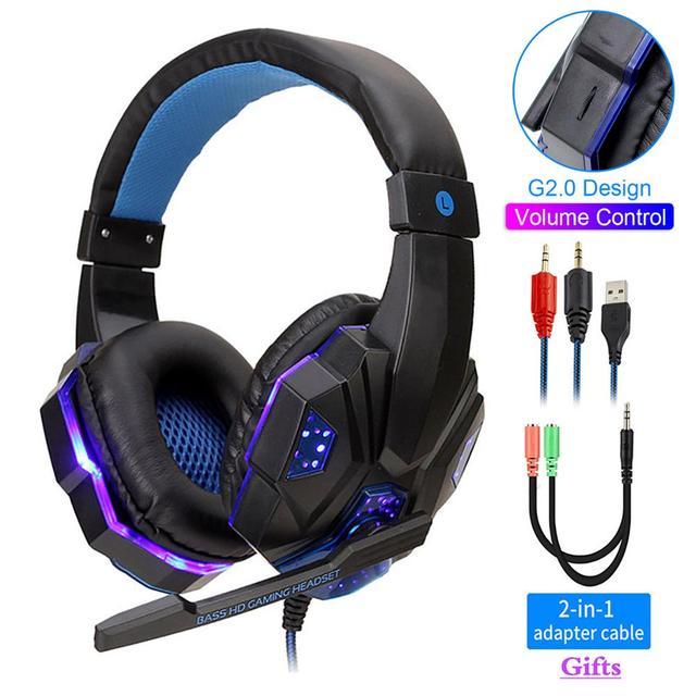 Profesyonel Led ışık bas oyun için mikrofon ile kablolu kulaklık anahtarı PS4 bilgisayar üzerinde oyun kulaklıklar için XBox PC