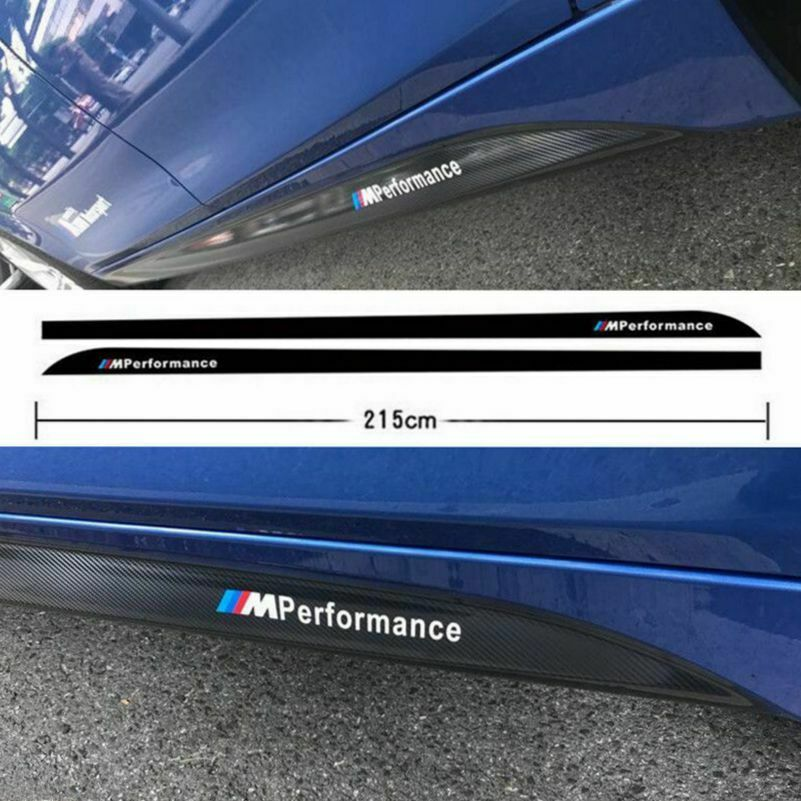 2Pcs/Set 215CM Carbon Fiber Decals M Performance Side Skirt Sills Car Stickers For BMW title=