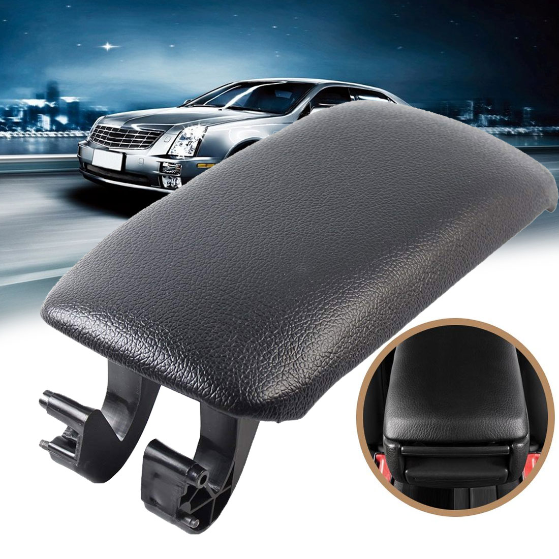 Wall Stickz Car Armrest Cushion Soft Leather Auto Center Console Pad Cover Handrail Box Universal Ergonomic Design Decoration Cushion fit Audi Accessory