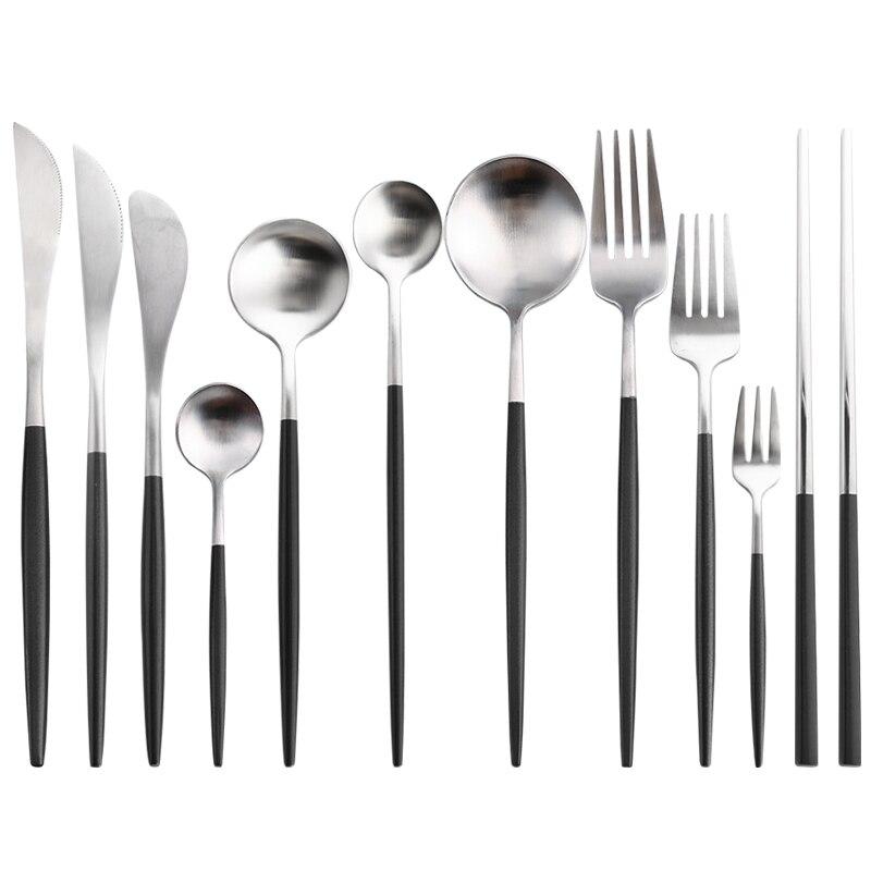 Black Silver Cutlery Set Noble Kitchen Tableware Restaurant Upscale Western Tableware Steak Knife Fork Coffee Spoon Teaspoon