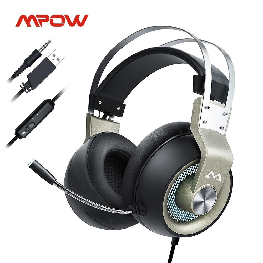 Игровые наушники Mpow EG3 Pro для iPad, PS4, ПК, ноутбуков, планшетов, телефонов, 3,5 мм, кабель Jax и USB, поддержка громкости/микрофона, драйвер 50 мм