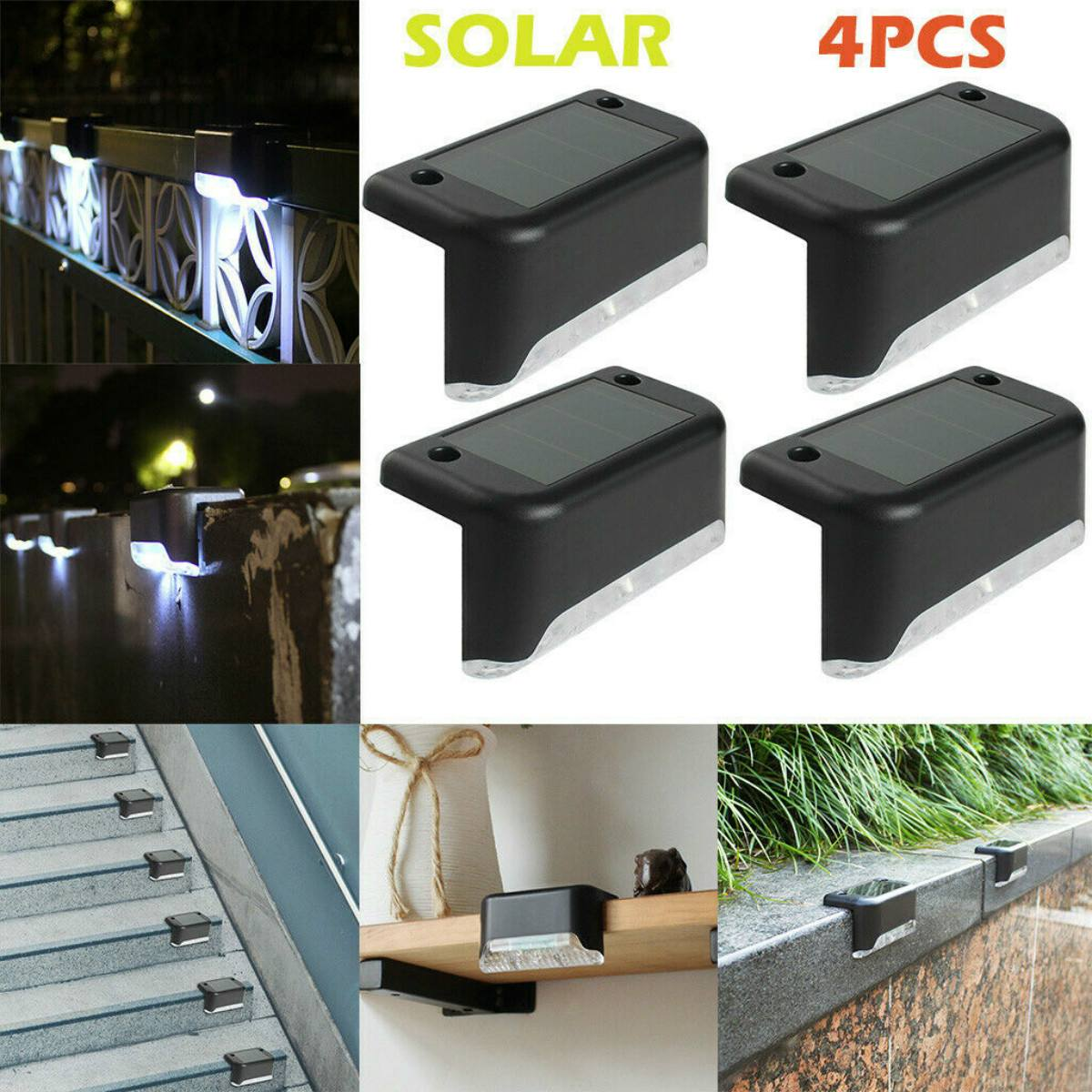 4Pcs/Set Solar Fence Post Lights Outdoor Yard Fence Security Wall Lamp Dark Sensing Waterproof Solar Light 8x4.5x4cm