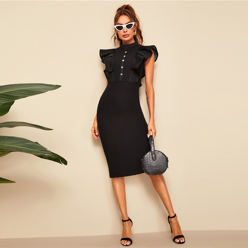 Sheinside Elegant Button Up Pencil Dress Women 19 Summer Layered Ruffle Trim Detail Bodycon Dresses Ladies Solid Midi Dress 6