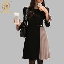 Smthma 2020 nova chegada elegante na altura do joelho vestidos plissados retalhos o-pescoço feminino primavera alargamento manga vestidos de festa