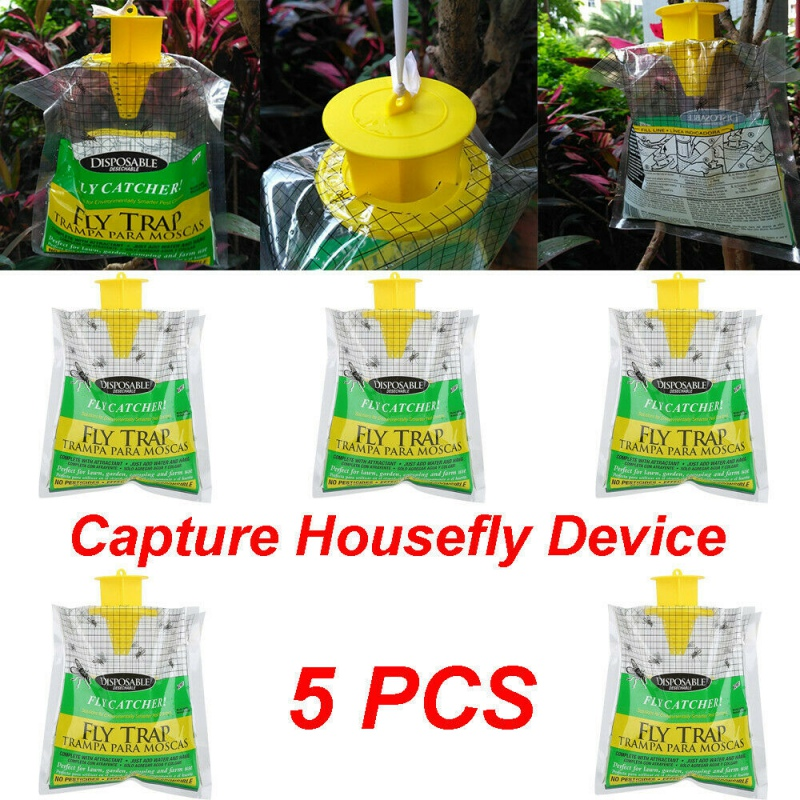 5PCS Flycatcher Bag Home Garden Outdoor Disposable Fly Catcher Control Trap Insecticide Flies Flycatcher Trap Attractant