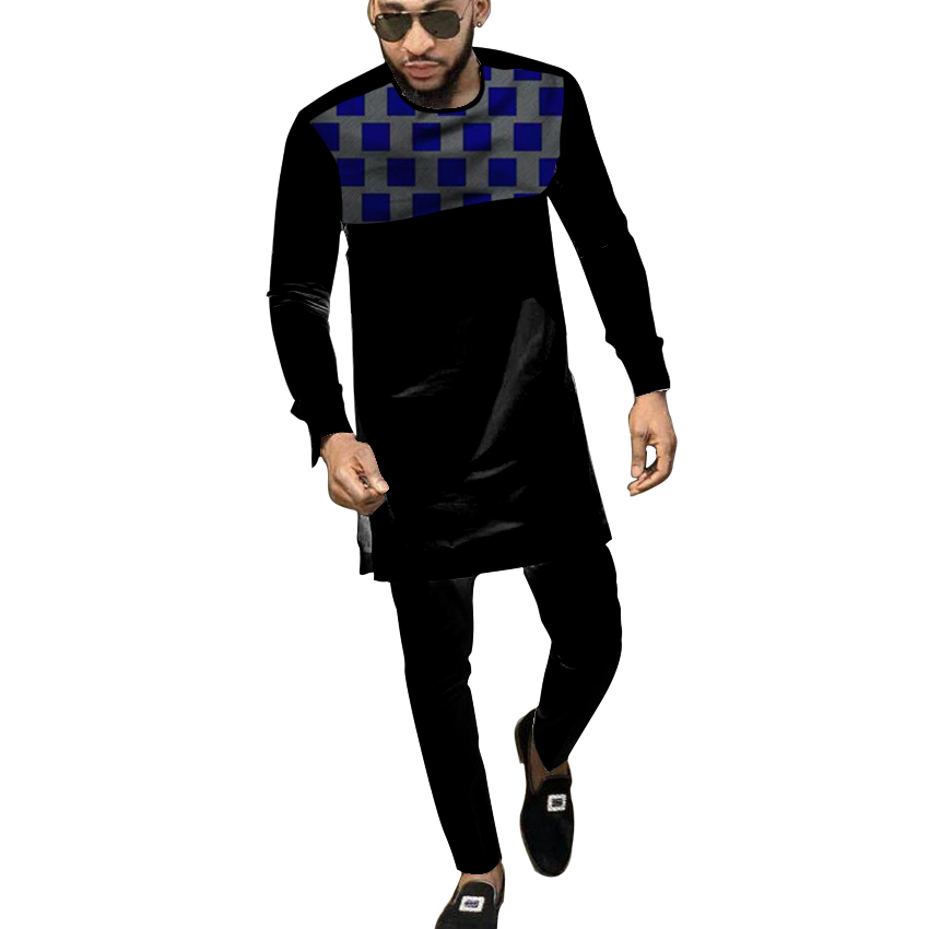 Black African Cothes For Men Dashiki National Man Patchwork Shirt With Solid Long Pant Custom Made Africa Clothing