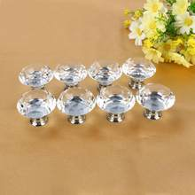 8pcs 40mm Clear Diamond Crystal Glass Door Knobs Drawer Cabinet Furniture Kitchen(China)