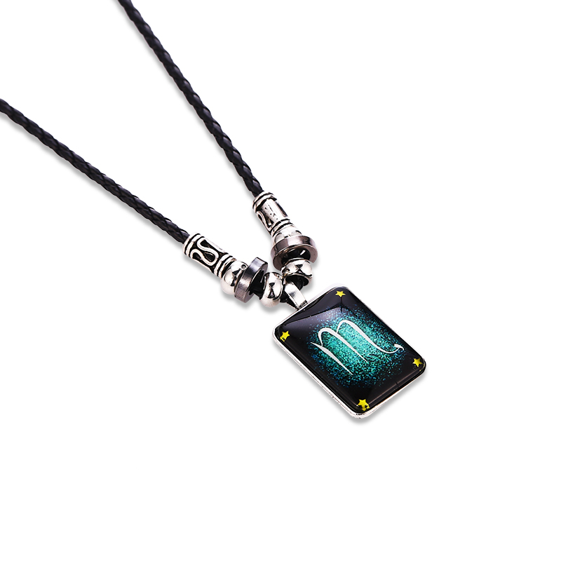 Fashion Pendant Necklace Galaxy Constellation Design 12 Zodiac Sign Horoscope Astrology Necklace For Men Square Resin Jewelry in Pendant Necklaces from Jewelry Accessories