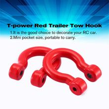 T-power 4 Pcs Red Trailer Trekhaak Bumper D-ring voor 1:10 RC Crawler Traxxas TRX4 Axiale SCX10 90046 D90 D110 TF2(China)