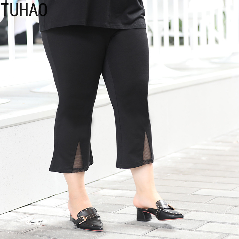 TUHAO Summer Women Office Lady Elegant Black Pants Casual High Waist Women Plus Size 7XL 6XL 5XL 4XL Elastic Capri Female WM55