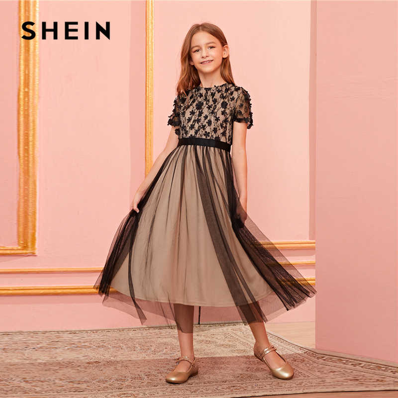 SHEIN Kiddie Appliques Mesh Sheer Overlay Party Dress Kids 2019 Autumn Short Sleeve Contrast Lace Flared Long Dresses For Child