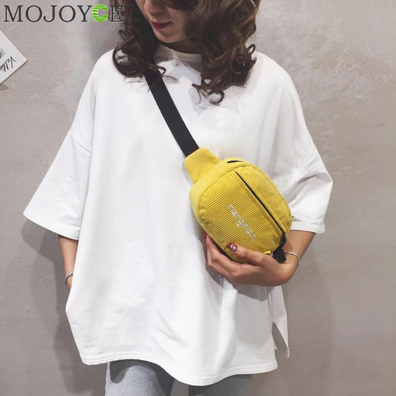 Women Corduroy Waist Bag Ladies Designer Canvas Fanny Pack Fashion Money Phone Chest Banana Bag Female Bum Belt Bags