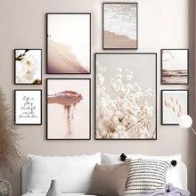 Nórdico posters e impressões praia flores de algodão grama trigo citação arte da parede pintura da lona quadros parede para sala estar decoração