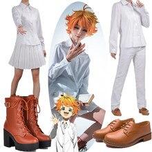 O prometido neverland cosplay traje anime sapatos yakusoku sem neverland emma norman ray cos traje feminino uniforme escolar