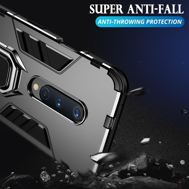 BBizx Anti Choque Caso Prova Para OnePlus 8 7 6T 7T Pro Caso de Telefone PC + Silicone Ferro homem Carro Magnético Fique Kickstand Capa Coque