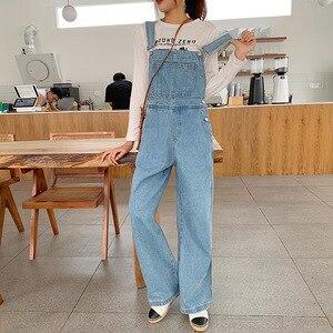 Luźne damskie kombinezony jeansowe spodnie szerokie nogawki 2020 letnie ubrania Streetwear w stylu Casual Vintage jeansy na szelki kombinezony damskie pajacyki niebieskie