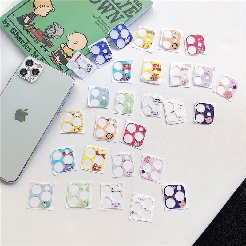 Cute Cartoon Back Camera Lens Film For Iphone 11 Pro Max Metal Camera Lens Protector Cover Ultra-thin Camera Cover For Iphone 11