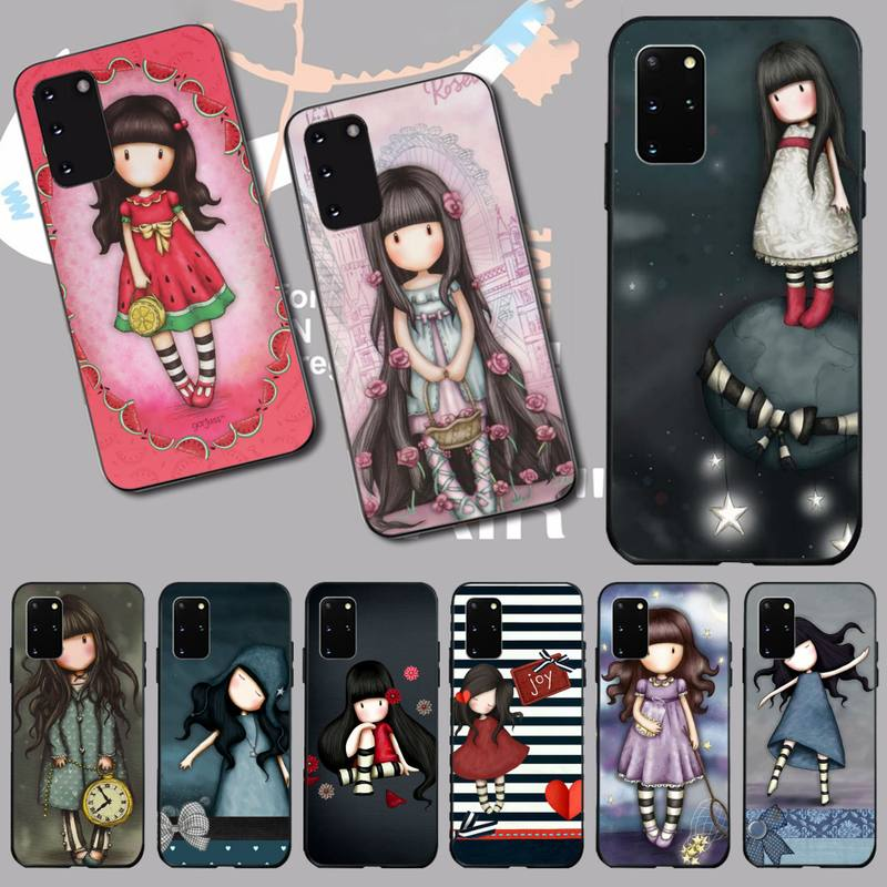PENGHUWAN Cartoon Lovely Santoro Gorjuss TPU black Phone Case Cover Hull for Samsung S20 plus Ultra S6 S7 edge S8 S9 plus S10 5G(China)