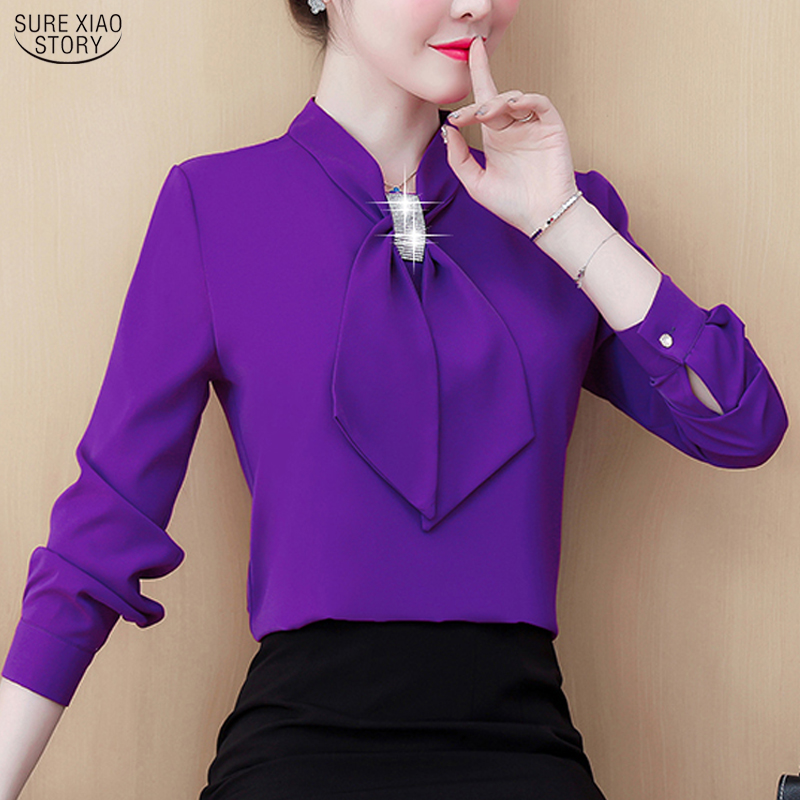 Womens Tops And Blouses 2021 Ladies Tops Chiffon Blouse Bow Solid Blusas Femininas Shirts For Women Tops Plus Size Black 8053 50 1