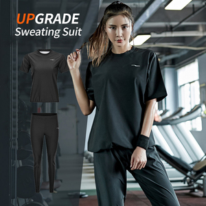 Image 2 - Gym Clothing Set Womens Hoodies Pullover Sportswear Running Fitness Training Jersey Weight Loss Sweating Sauna Sports Suit