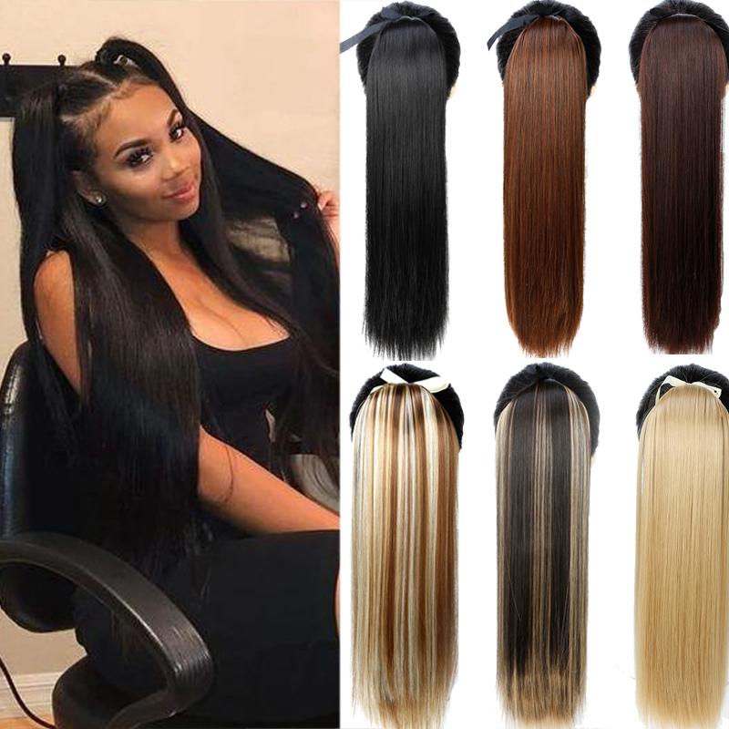 "AOSIWIG Hairpiece Pony Tails Synthetic Drawstring 22"" Long Straight Black Brown Fake Ponytails Clip On Ponytail Hair Extension"