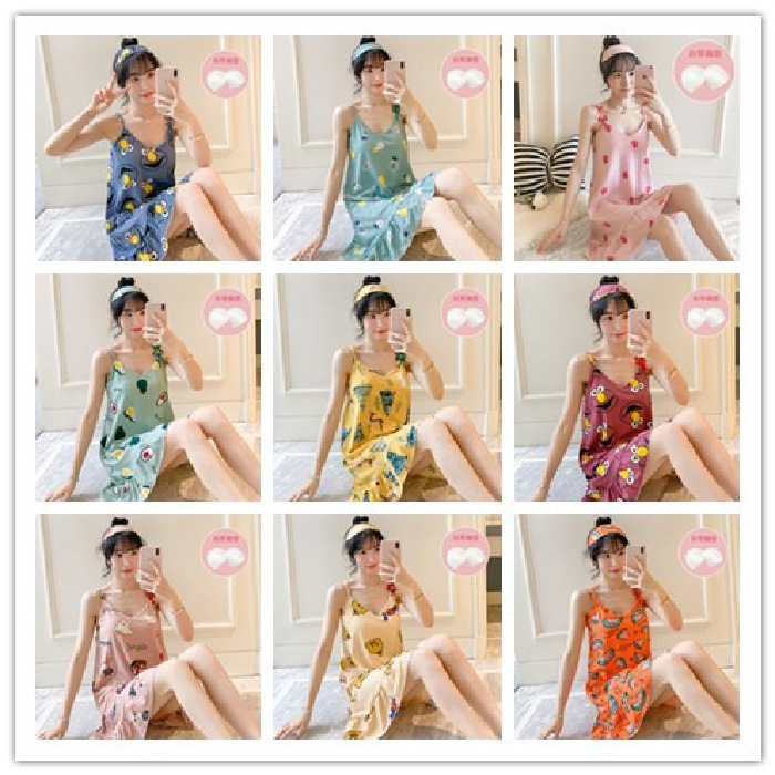 Low Price With Chest Pad Nightgown Women's Summer Camisole Korean-style Pajamas Students Loose-Fit Dress With Eye Patch