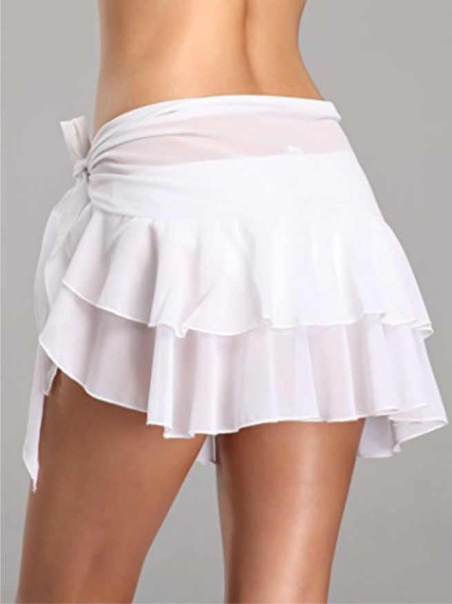 1 pçs verão praia cobrir saia mulheres chiffon beachwear banho curto nadar vestido biquíni perspectiva gaze saia 4 cores