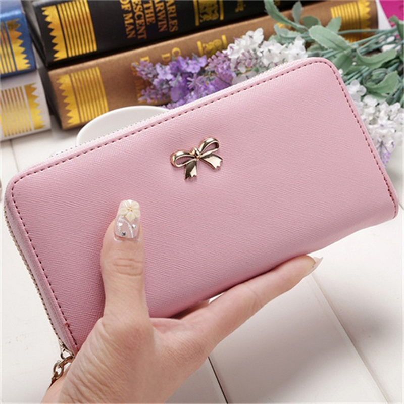 JODIMITTY Ladies Cute Bowknot Women Long Wallet Portable Clutch Bag 2020 New Purse Phone Card Holder Bag Wallet