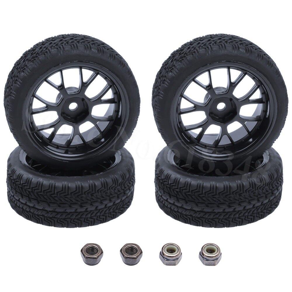 4PCS RC 1/16 1/10 On Road Tires & Wheel Rim 12mm Hex 12mm OD:63mm Width:26mm For Tamiya HSP HPI Himoto Redcat Model Car Models