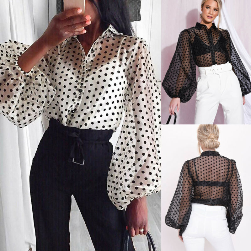 Fashion Women Sexy Polka Dot Mesh Sheer See-through Long Puff Sleeve Shirts Ladies Baggy Loose Party Club Blouse Perspective Top