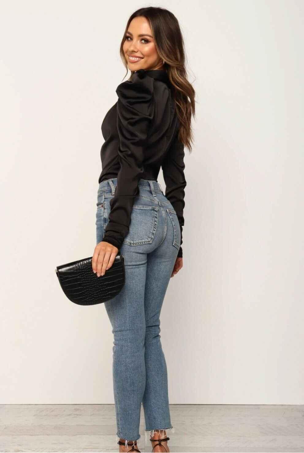 2020 Donne di modo Camicette di Raso Fiocco Al Collo A Maniche Lunghe Camicetta Elegante Office Lady Camicette Femminile Blusas S-XL