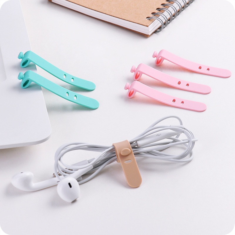Cute Candy-Colored Headset Winder Organizing Data Cable Cord Manager Silica Gel Stud Wire Wrapper Four