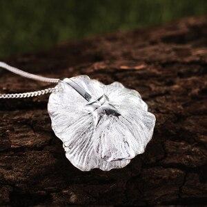 Image 3 - Lotus zabawy prawdziwe 925 Sterling Silver Handmade Fine Jewelry 18K złota kwitnące maki wisiorek kwiat bez naszyjnik dla kobiet