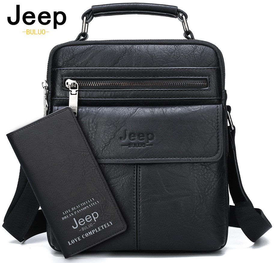 JEEP BULUO Men's Crossbody Shoulder Bags Split Leather Handbag Fashion Business Man Messenger Bag High quality Tote Hot