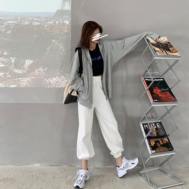 Harajuku Korean version loose thin long-sleeved hooded sun protection coat solid color retro shirt student girl top 4