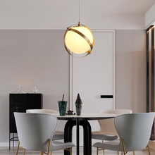 Postmodern Living Room Single Head Glass Chandelier Simple Bedroom Study Rooms Creative Earth Ring Chandelier
