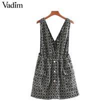 Vadim women elegant tweed suspender skirt pockets button decorate overalls female retro casual stylish mini skirts BA861